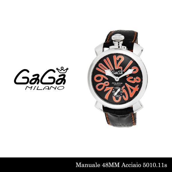 【送料無料】【LaGアウトレット】【訳あり:箱無し】【GaGa MILANO-ガガ ミラノ-】Manuale 48MM 5010.11S Black Black Swiss Model[5010.11S]