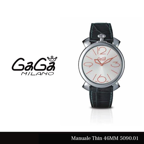 【送料無料】【LaGアウトレット】【訳あり:箱無し】【GaGa MILANO-ガガ ミラノ-】Manuale Thin 46MM 5090.01 Silver/Gray Swiss Made