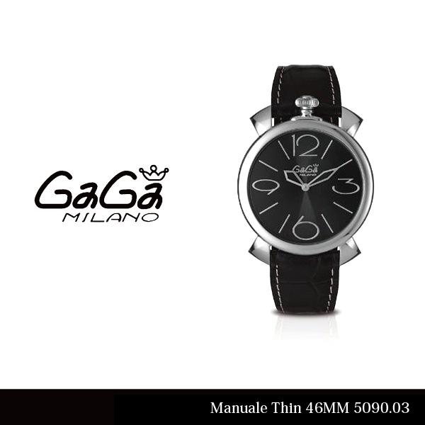 【148時間限定ポイント最大43倍!お買い物マラソン】【送料無料】【LaGアウトレット】【訳あり:箱無し】【GaGa MILANO-ガガ ミラノ-】Manuale Thin 46MM 5090.03 Gray Swiss Made