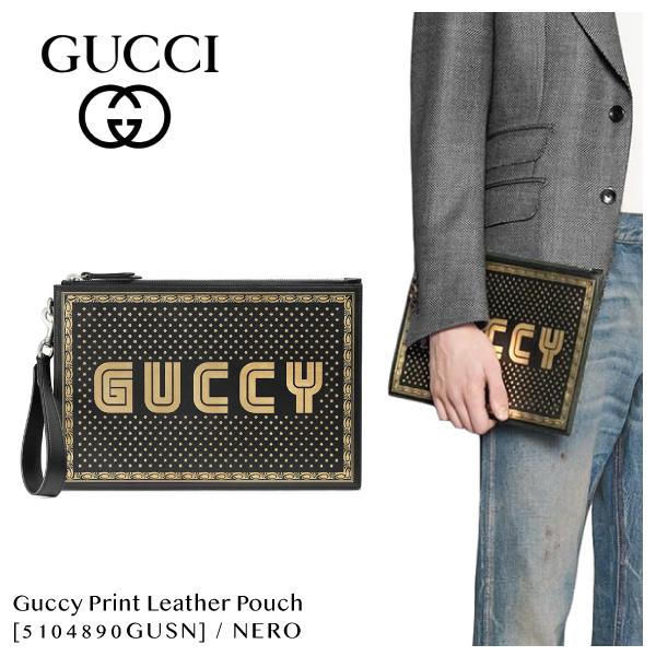 【送料無料】【並行輸入品】【2018 SS】『GUCCI-グッチ-』Guccy Print leather pouch[5104890GUSN]