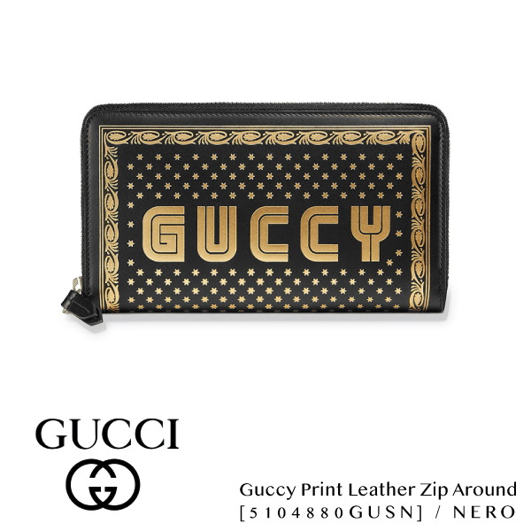 【送料無料】【並行輸入品】【2018 SS】『GUCCI-グッチ-』Guccy Print Leather Zip Around Wallet[5104880GUSN]
