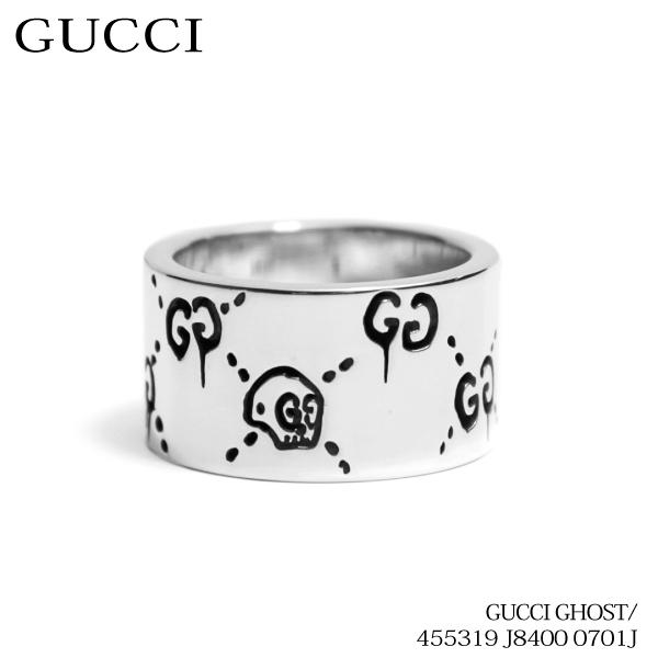 【送料無料】【並行輸入品】《返品交換不可》『GUCCI-グッチ-』Gucci Ghost wide ring in sterling silver リング 指輪〔455319 J8400 0701 12mm〕【スーパーSALE開催☆ポイント最大44倍!!6/11 01:59マデ】