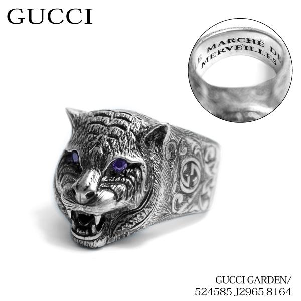 【送料無料】【並行輸入品】《返品交換不可》【2018】『GUCCI-グッチ-』GUCCI GARDEN Ring with feline head detail in sterling silver〔524585 J2965 8164〕