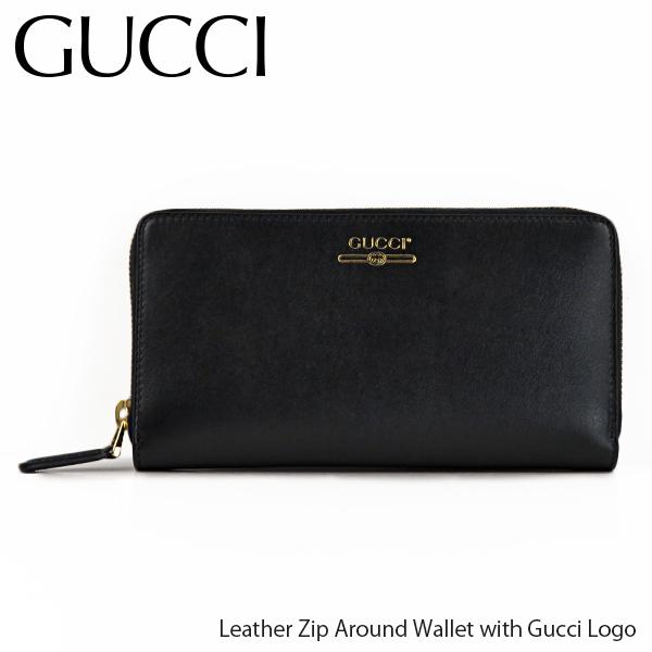 【並行輸入品】『GUCCI-グッチ-』Leather Zip Around Wallet with Gucci Logo レザー ジップアラウンド ウォレット ロゴ 長財布 メンズ[547591 0YA0G 1000]