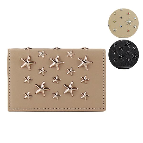 {スタースタッズ付き レザー カードケース パスケース} 【送料無料】【並行輸入品】【2018 AW】『JIMMY CHOO-ジミーチュウ-』NELLO Deerskin with Crystal Stars カードケース