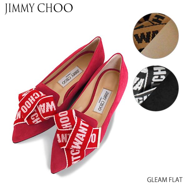 【送料無料】【並行輸入品】【2019 SS】『JIMMY CHOO-ジミーチュウ-』GLEAM FLAT-スエード ロゴ ボウ グリーム フラット パンプス-ポイント最大44倍!!スーパーセール!
