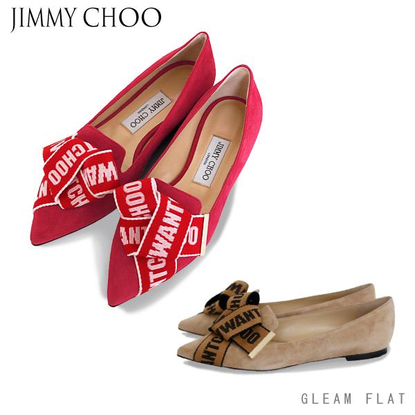 【送料無料】【並行輸入品】【2018 AW】『JIMMY CHOO-ジミーチュー-』GLEAM FLAT-スエード ロゴ ボウ グリーム フラット-