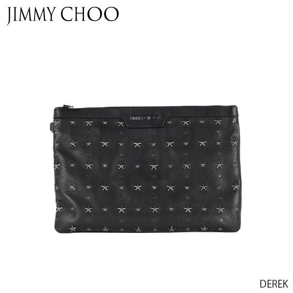 【送料無料】【並行輸入品】『JIMMY CHOO-ジミーチュウ-』DEREK-スタースタッズ付き クロコ調 エンボス サテンレザー クラッチバッグ-