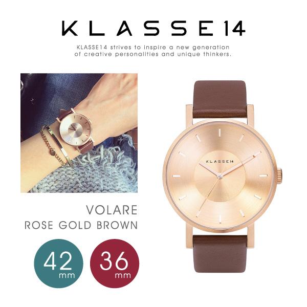 【予約】【送料無料】【並行輸入品】『KLASSE14-クラスフォーティーン-』VOLARE Rose Gold Brown 36mm/42mm〔VO14RG002〕[クラッセ ヴォラーレ 腕時計 メンズ レディース ステンレス ローズゴールドブラウン レザー アナログ クォーツ]《ご注文後3日前後発送予定》