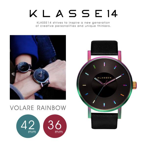 【送料無料】【並行輸入品】『KLASSE14-クラスフォーティーン-』VOLARE Rainbow 36mm/42mm〔VO15TI001〕[クラッセ ヴォラーレ 腕時計 メンズ レディース ステンレス レインボー ブラック レザー アナログ クォーツ]