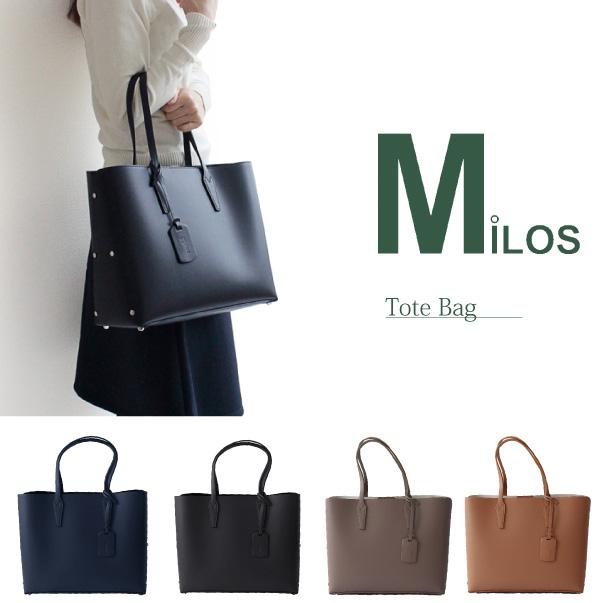 【148時間限定ポイント最大43倍!お買い物マラソン】【送料無料】『Milos-ミロス-』Tote Bag 〔1644〕[上質レザー トートバッグ バッグインバック付 レディース インポートバッグ Made in ITALY]