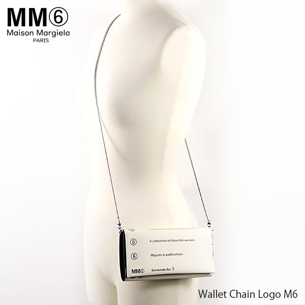 【150時間限定ポイント最大43倍!お買い物マラソン】【送料無料】【2019 SS】【新作】『MM6 Maison Margiela-エムエム6 メゾンマルジェラ-』Wallet Chain Logo M6-グラフィックロゴプリント チェーン付き ロングウォレット-〔S54UI0063 PR184〕