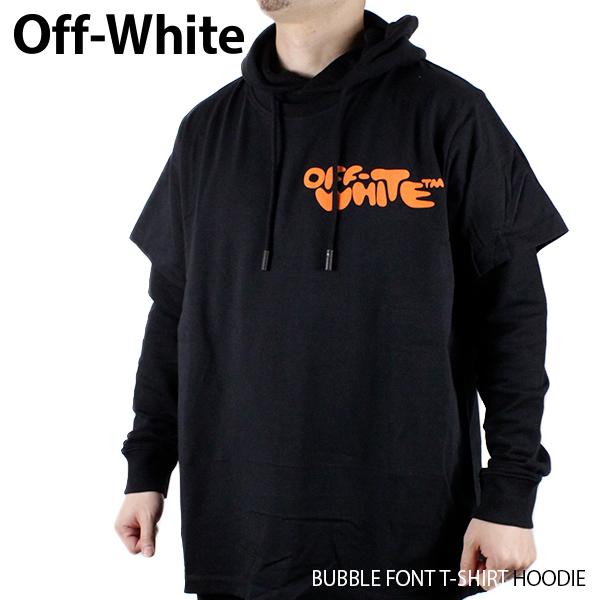 【送料無料】【2019 SS】【新作】『Off-White-オフホワイト-』BUBBLE FONT T-SHIRT HOODIE-バブルフォント Tシャツ レイヤード パーカー-〔OMBB042R19003014〕