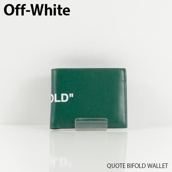 【送料無料】【2019 SS】【新作】『Off-White-オフホワイト-』QUOTE BIFOLD WALLET-クオート バイフォールド ウォレット Green White-〔OMNC008R19853023〕