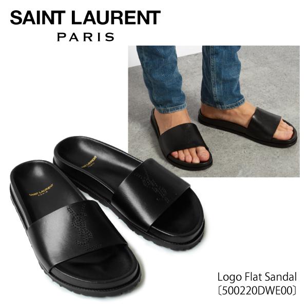 【送料無料】【並行輸入品】【2018 SS】『SAINT LAURENT-サンローラン-』Logo Flat Sandal〔500220DWE00〕