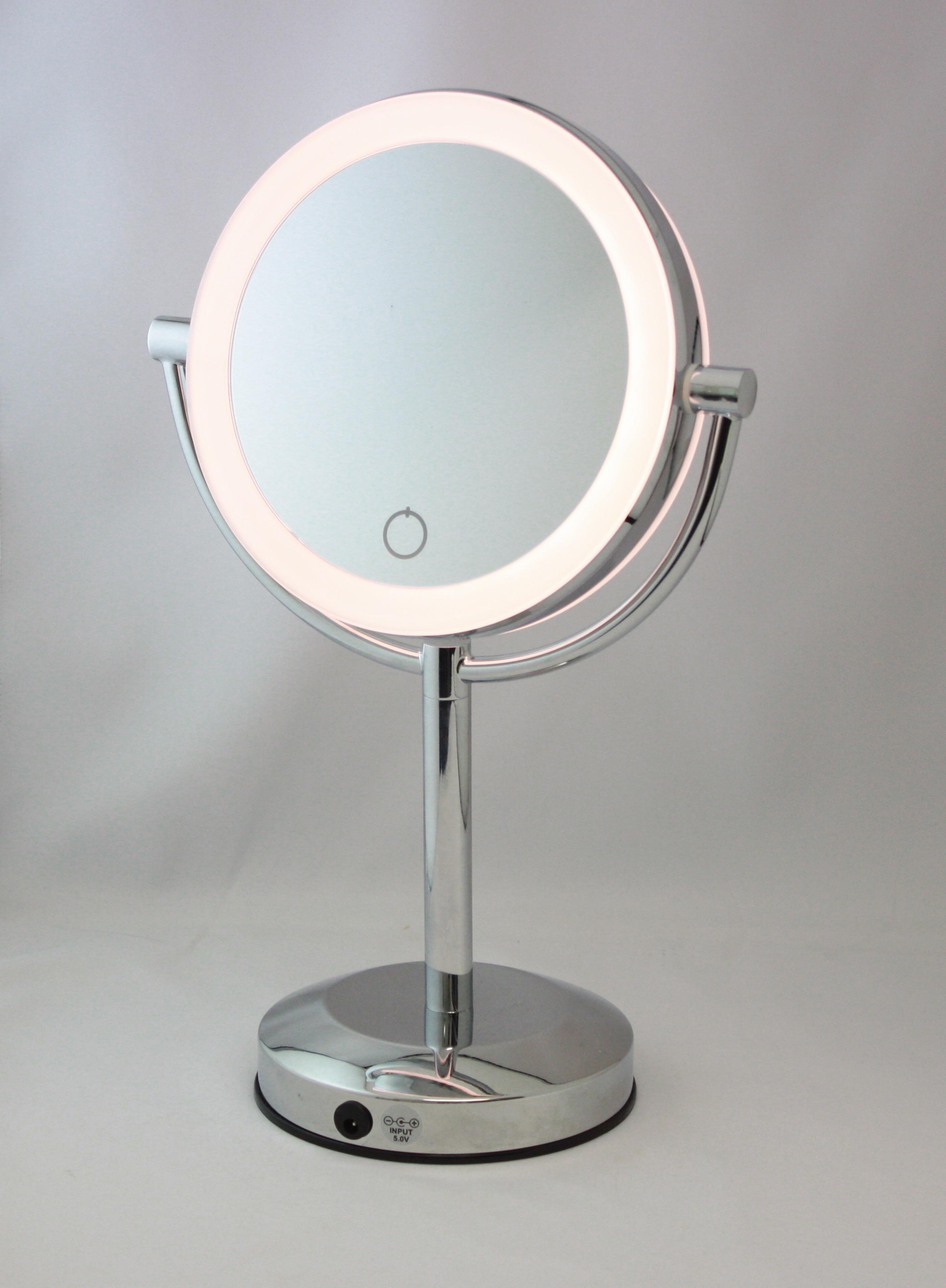 歪みのないハイクオリティ LED付拡大鏡 等倍 5倍 ワンタッチで点灯 お洒落 アイキャッチEC005LXAC-5X12時までの注文で即日発送 メーカー公式 真実の鏡Luxe-両面型 off切替調色機能グレードアップ 正規品 on