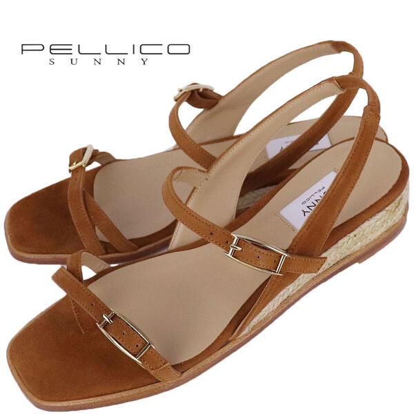 2020年春夏新作 国内正規品 PELLICO SUNNY ペリーコサニー レディース ジュートソール ゴートスエード スクエアトゥ トングサンダル ACACIA PJ20-0121 ANTE COGNAC(ブラウン)