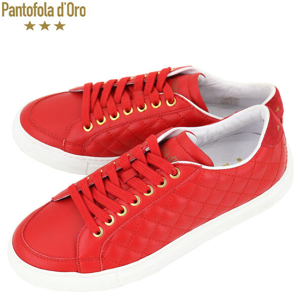 国内正規品 即日発送 PANTOFOLA DORO パントフォラドーロ メンズ レザー キルティング ローカットスニーカー PDO TSL26 RED(レッド)