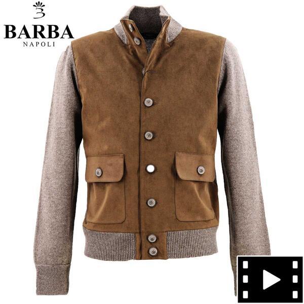 バルバ BARBA エコスエード メンズ メランジウール 切り替え ニットブルゾン バルスター型 2505023512017(グレー)