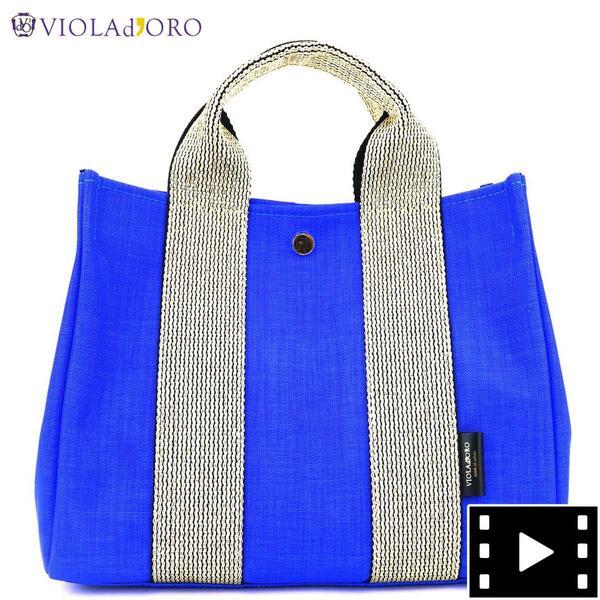 ヴィオラドーロVIOLAd'OROレディースナイロン2WAYハンドバッグV-2112GINOジーノROYALBLUE×GOLD(ロイヤルブルー×ゴールド)