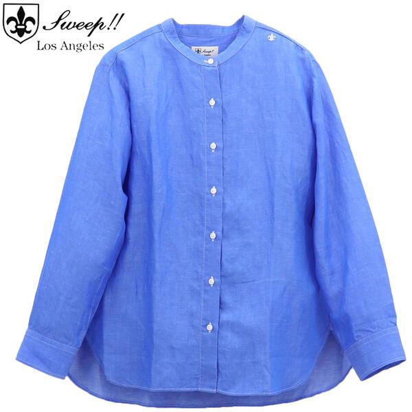 スウィープロサンゼルスSWEEP!!LosAngelesレディスリネン混スタンドカラーシャツBLUESL030001(ブルー)