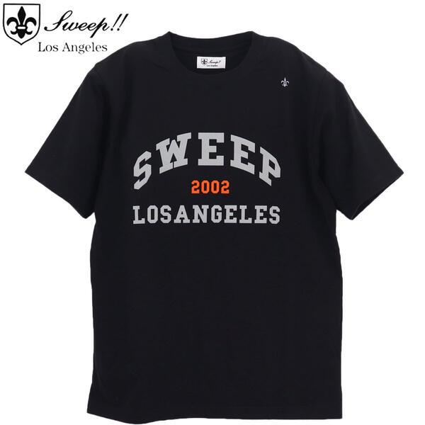 送料無料限定セール中 2021年春夏新作 国内正規品 即日発送 毎日続々入荷 スウィープ ロサンゼルス Sweep LosAngeles メンズ カレッジロゴ ブラック クルーネック BLACK LOGO-T 送料込 Tシャツ SWP COLLEGE SL160003