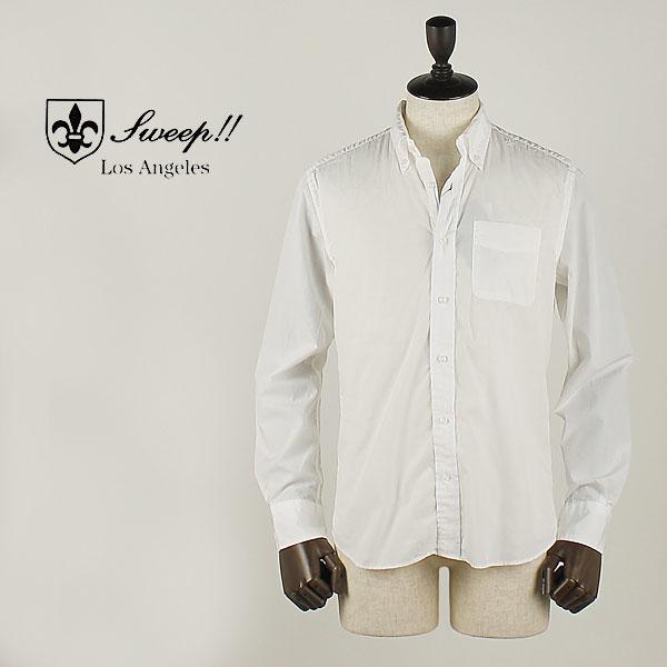 SWEEP!! LosAngeles スウィープ ロサンゼルス メンズ コットン ポプリン ボタンダウンシャツ Poplin Solid (ホワイト)