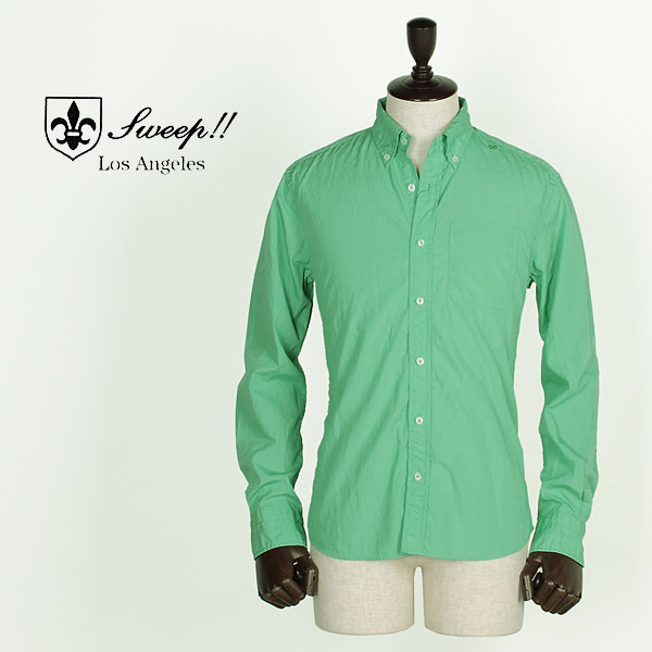 SWEEP!! LosAngeles スウィープ ロサンゼルス メンズ コットン ポプリン ボタンダウンシャツ Poplin Solid (グリーン)