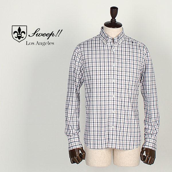 SWEEP!! LosAngeles スウィープ ロサンゼルス メンズ コットン チェック柄 ボタンダウンシャツ Traditional Check (ホワイト)