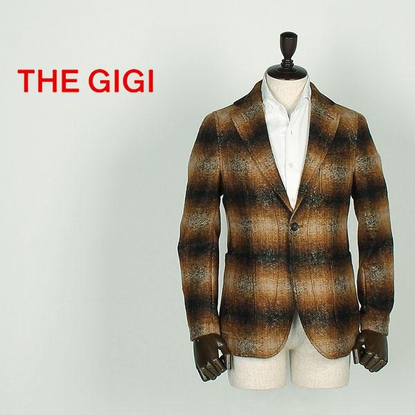 THE GIGI ザ・ジジ メンズ モヘヤ オンブレチェック 2B シングルジャケット ANGIE E082 (ブラウン)