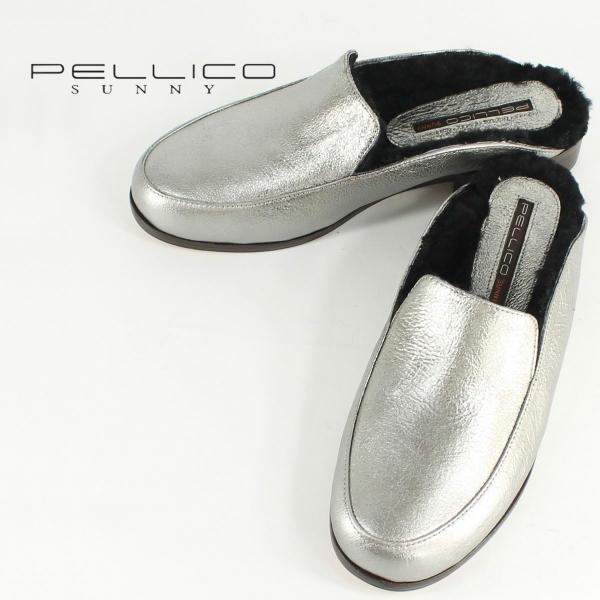 PELLICO SUNNY ペリーコサニー ローファースリッパー PJ17-2500 AZAHAR VULCANO ROCA 3cm(シルバー)