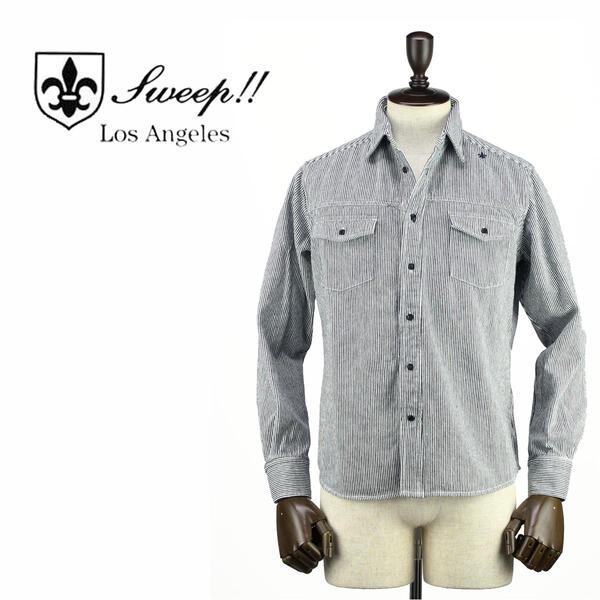 SWEEP!! LosAngeles スウィープ ロサンゼルス メンズ カバーオール ヘヴィーウェイト ヒッコリー デニムシャツ Denim Hickory Shirt INDIGO(ネイビー×ホワイト)