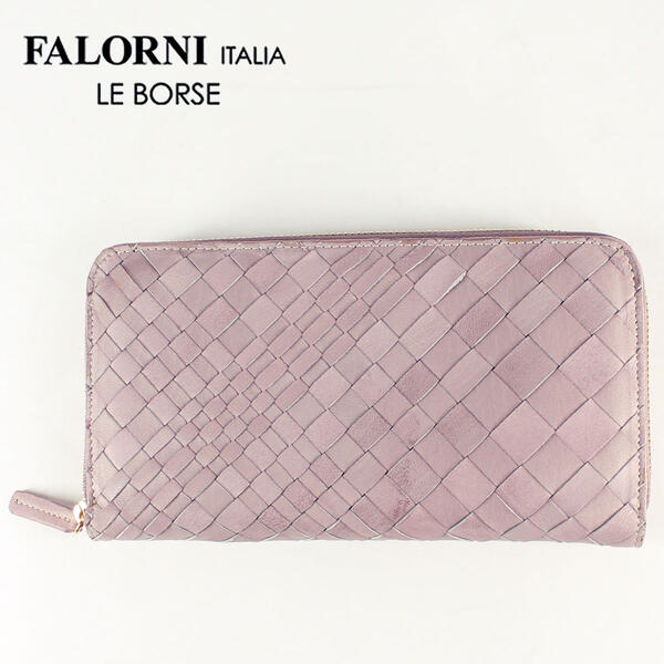 FALORNI ファロルニ イントレチャート ラムレザー ラウンドジップウォレット 長財布 Art.01(ピンク)