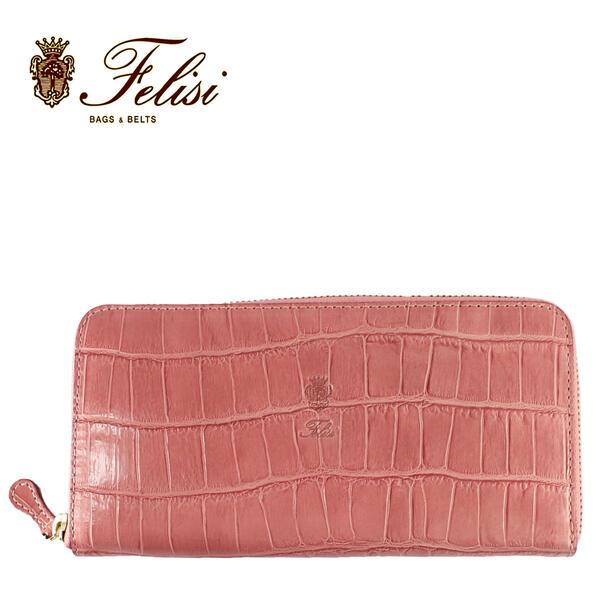 Felisi フェリージ クロコダイル型押し エンボスレザー ラウンドジップ長財布 125/SA ANTIQUE PINK (ピンク)