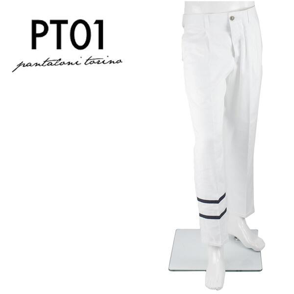 PT01 ピーティーゼロウーノ フォワード メンズ コットンリネン 1プリーツパンツ FORWARD STYLE05 CWHL05BY0FWD NT89 0010 (ホワイト)