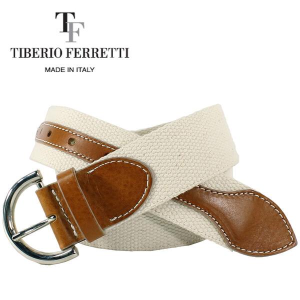 TIBERIO FERRETTI ティベリオフェレッティ レディース SARA コットン キャンバス レザーベルト 1418/COGNAC(ブラウン)