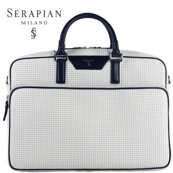 SERAPIAN セラピアン PVC型押し ブリーフケース SSTGAMLL6923-M40-DC87 (ホワイト)