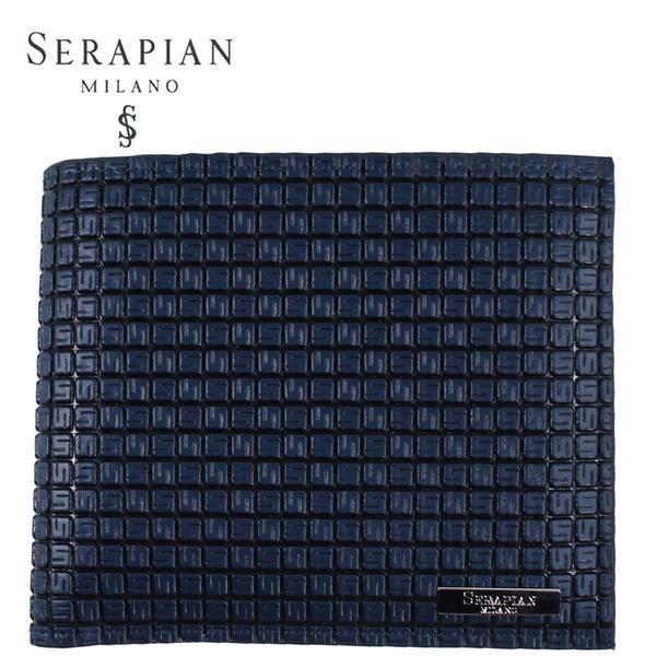 高品質 国内正規品 即日発送 セラピアン SERAPIAN 二つ折り財布 ネイビー×ブラック セール特別価格 SSTGAMSL6136-M11-AC20 PVC型押し