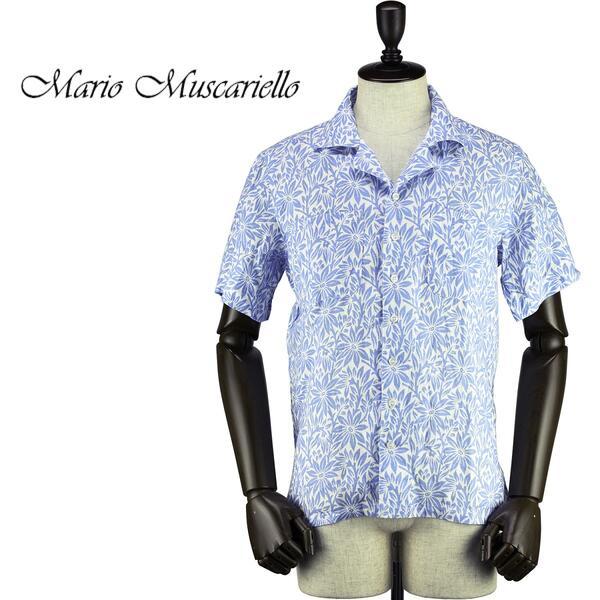 Mario Muscariello マリオムスカリエッロ メンズ リネン 花柄 オープンカラー 開襟 ショートスリーブシャツ HONOLULU S/S WASHED SCLSSM106(ブルー)