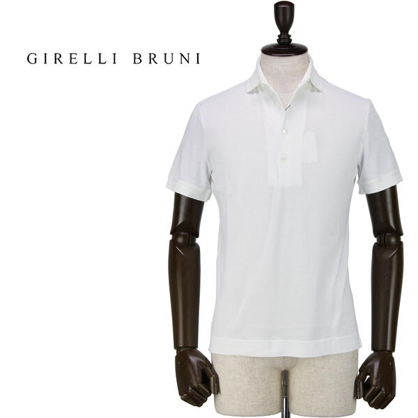 GIRELLI BRUNI ジレッリブルーニ メンズ コットン ポロシャツ V858SM WHITE (ホワイト)