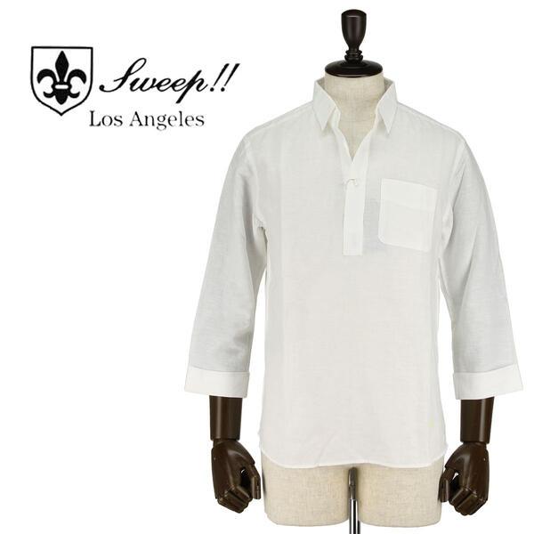 SWEEP!! LosAngeles スウィープ ロサンゼルス メンズ リネンコットン 8分袖 プルオーバー カプリシャツ Cotton/Linen CT (ホワイト)