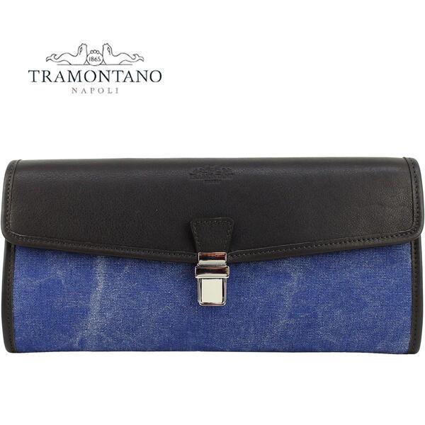 TRAMONTANO トラモンターノ メンズ レザー キャンバス フラップクラッチバッグ 1369 DENIM(インディゴ)