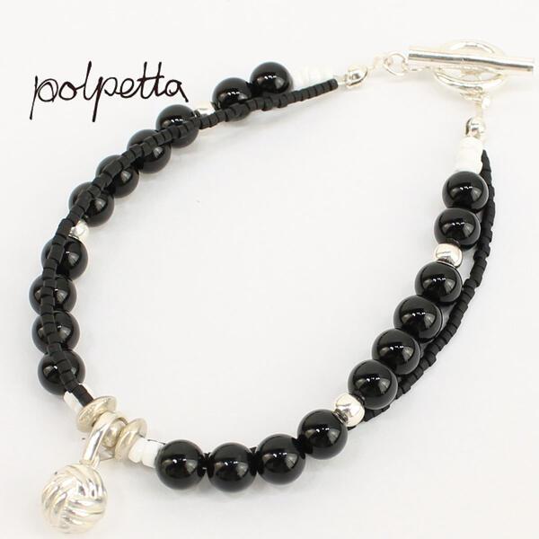 POLPETTA ポルペッタ オニキス シルバー925 2連ブレスレット STONE BRACELET 001 BLACK-POL (ブラック)