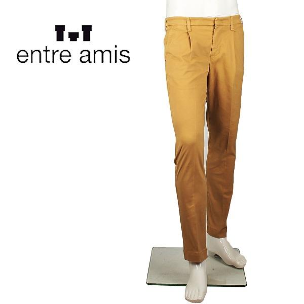 ENTRE AMIS アントレアミ メンズ 1プリーツ コットンストレッチ テーパードパンツ A-19-8291-488L17 0605(マスタード)