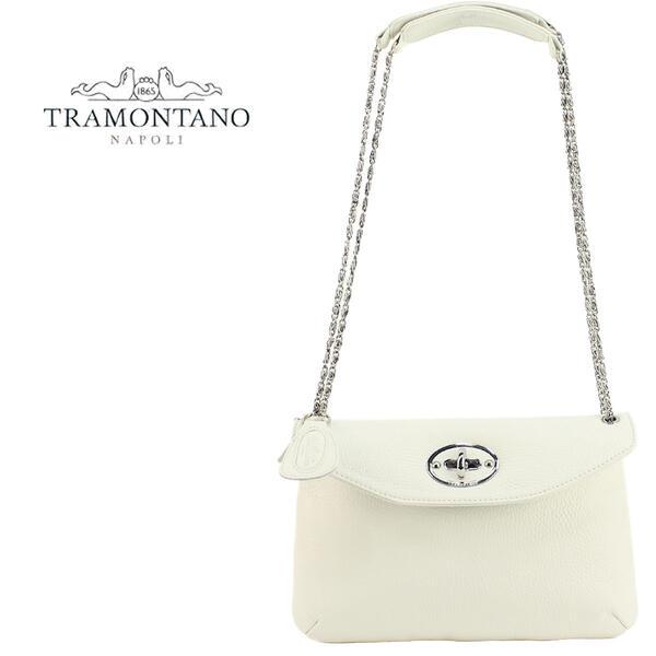TRAMONTANO トラモンターノ レディース レザー フラップポシェット チェーンショルダーバッグ 1922 ALCE(ホワイト)