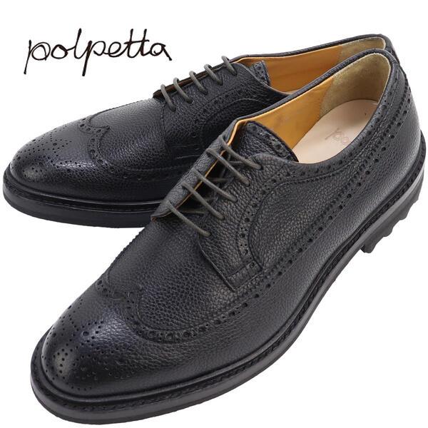 POLPETTA ポルペッタ クラシックシリーズ メンズ メダリオン ウイングチップ ララクトエビアソール M-LACE SEMELLE EM NERO (ブラック)