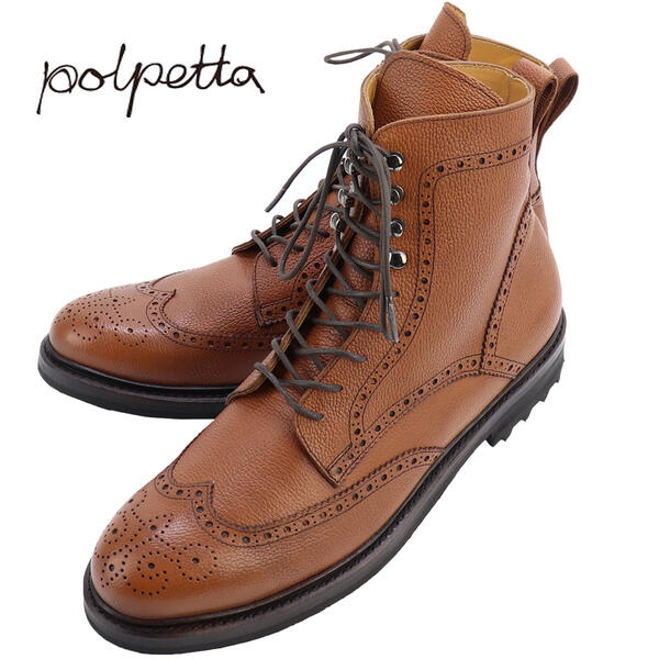 POLPETTA ポルペッタ クラシックシリーズ メンズ メダリオン ウイングチップ レースアップサイドジップブーツ ラクトエビアソール P-LACE SEMELLE BOOTS EM BROWN(ブラウン)