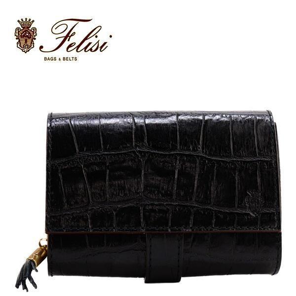 Felisi フェリージ クロコダイル型押し エンボスレザー フリンジ付き コロコロ折財布 3500/SA BLACK 003(ブラック)