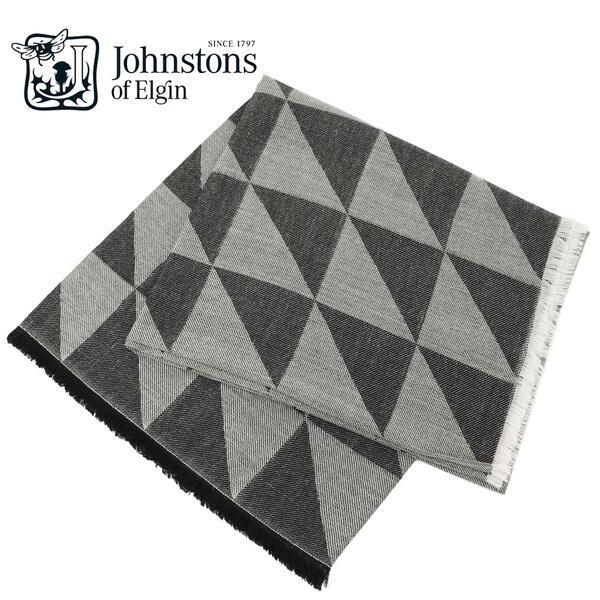 JOHNSTONS ジョンストンズ ウール 正方形 大判 ストール 薄手 幾何学柄模様 WD000869 RU5926(ホワイト×ブラック)