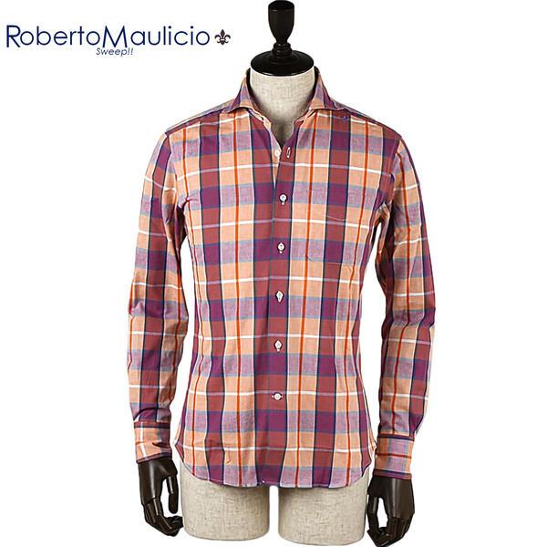 ROBERTO MAULICIO SWEEP!! ロベルトマウリシオ スウィープ ユーロヴィンテージ チェックシャツ(オレンジ)